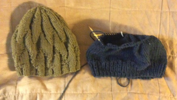 I finished the Waves of Hope cap on the left last week
