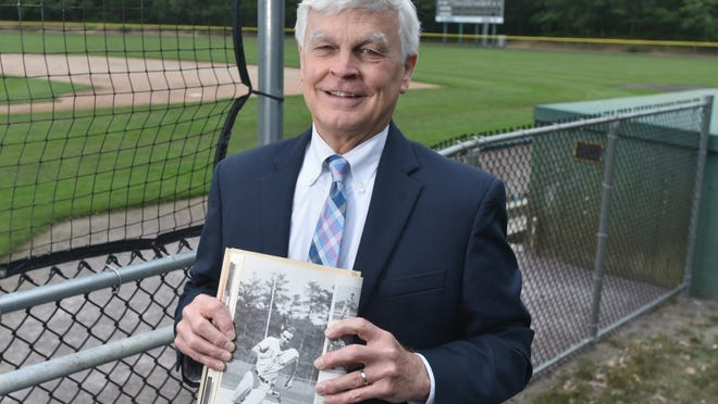 Bill Crowell's 1971 Harwich High yearbook features a full page photo of him rounding the bases along with his ball cap and bat. He is part of a four generation Cape League family.