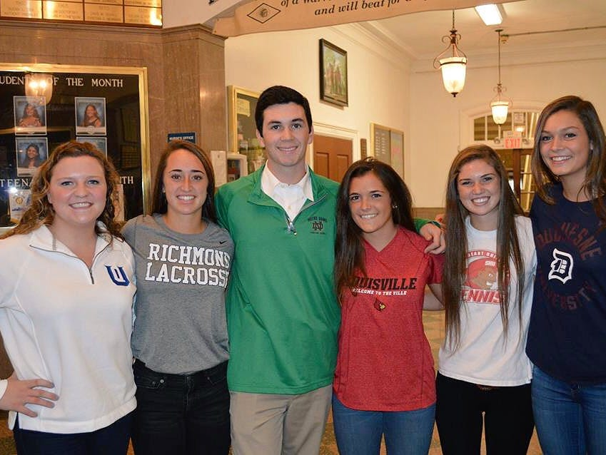 Manasquan's NLI signers on Nov. 11, 2015. Maggie Fabean (Queens of Charlotte), Megan Gianforte (Richmond), Jack Sheehan (Notre Dame), Emily Petillo (Louisville), Brianne Lauria (Sacred Heart), and Kirsten Barnes (Duquesne).