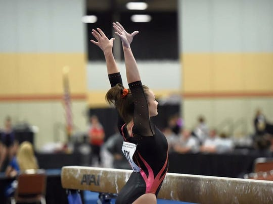 Gettysburg's Hannah Baddick finishes a routine. Baddick competes for Frederick Gymnastics Club in Maryland.