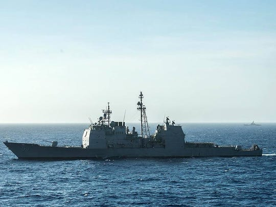 The guided-missile cruiser USS Mobile Bay (CG 53) transits the Philippine Sea during Malabar 2016.