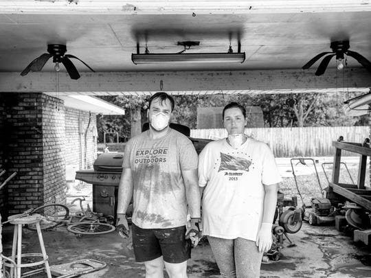 Katie & Nick begin the demo of their home off of Juban Road. They recently remodeled their home, and watched as 6 feet of water destroyed everything. Denham Springs, LA