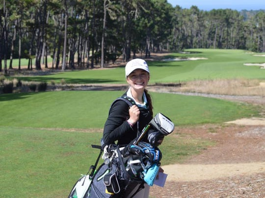 Madelyn Dimitroff plays a practice round earlier this week for Friday's PGA Tour-Champions Tour Nature Valley First Tee Classic at Pebble Beach.