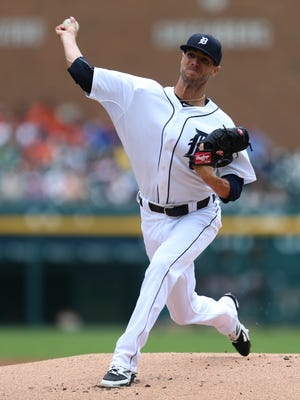The Detroit Tigers' Shane Green pitches against the Oakland Athletics during first inning action on June 4, 2015, at Comerica Park in Detroit. The Tigers lost 7-5 to the A's.