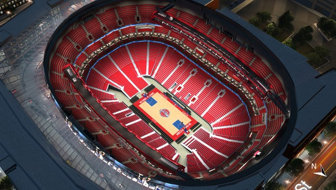 """A """"virtual venue"""" look at Little Caesars Arena during Detroit Pistons game days."""