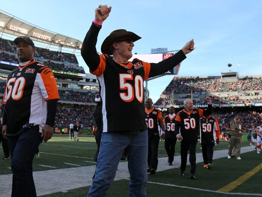 Former Cincinnati Bengals defensive tackle Tim Krumrie acknowledges the fans at halftime during the Week 12 NFL game between the Cleveland Browns and the Cincinnati Bengals, Sunday, Nov. 26, 2017, at Paul Brown Stadium in Cincinnati.