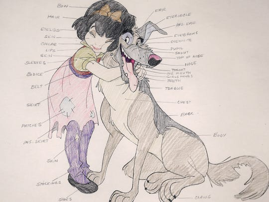 """This is a preproduction drawing for """"All Dogs Go to Heaven"""" by Don Bluth. The drawing is part of the exhibit, """"Don Bluth, An American Animator,"""" currently on display at the El Paso Museum of Art in Downtown."""