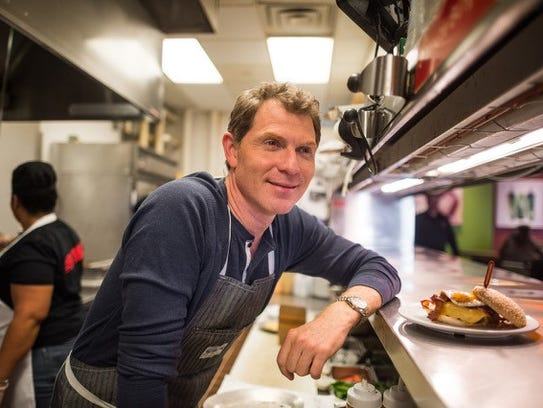 Bobby Flay in the kitchen of Bobby's Burger Palace