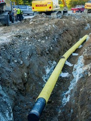 A Vermont Gas pipeline construction site along Route