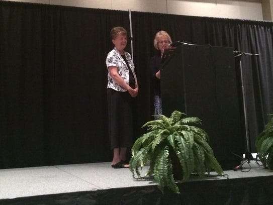 Sister Jane McClure accepts Albion Fellows Bacon Award