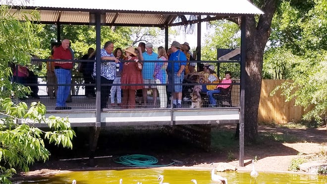 Zoo director Bill Gersonde and others stay cool n the shade in part of the Abilene Zoo's new wetlands exhibit.