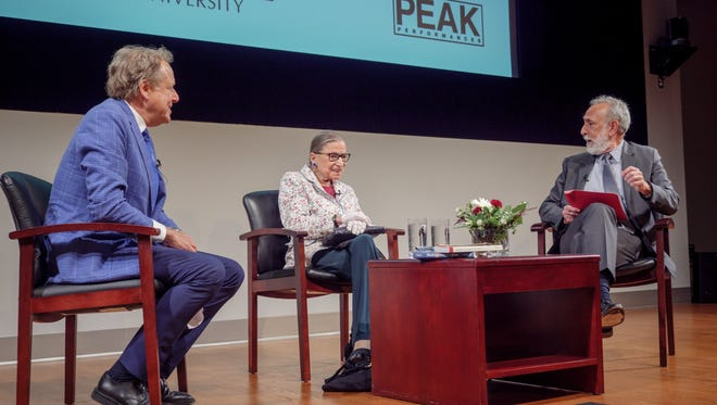 Supreme Court Justice Ruth Bader Ginsburg, center, takes part in roundtable discussion about Shakespeare at Montclair State University on Saturday.