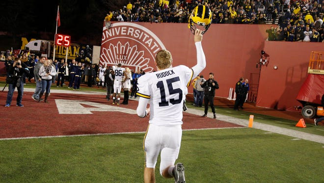 Michigan quarterback Jake Rudock reacts to a victory over the Indiana Hoosiers at Memorial Stadium.