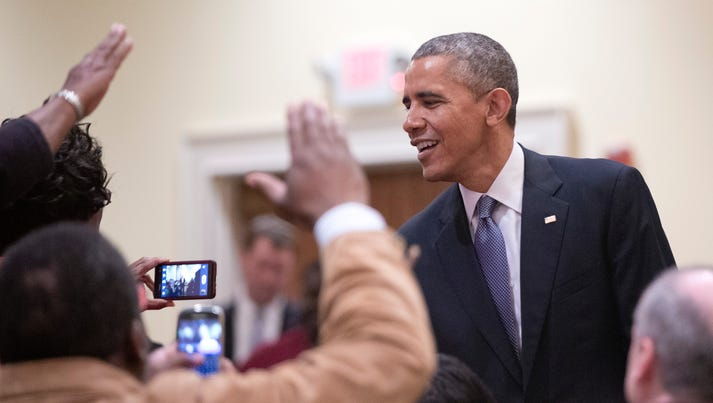 President Obama visits people at the Brookland Banquet