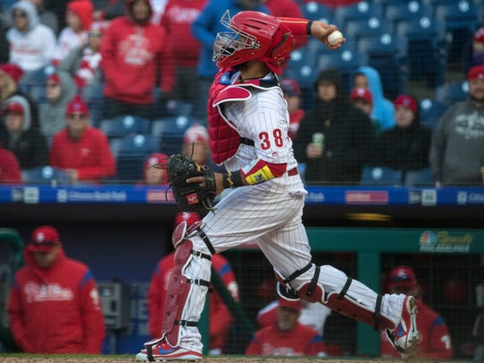 Phillies catcher Jorge Alfaro has thrown out nine runners attempting to steal this season, a tie for the major league lead.