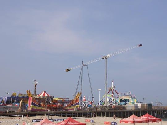 The Skyscraper ride on Casino Pier hurls riders into the sky