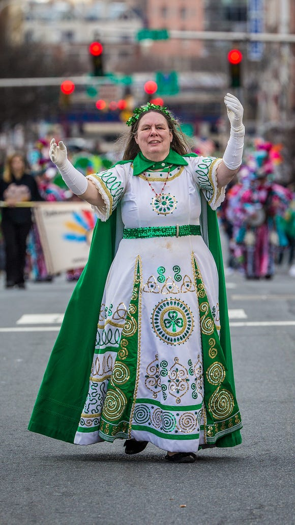 """Suzanne Muldowney as Irish Cinderella at last year's St Patrick's Day parade in Wilmington. Muldowney has appeared on """"The Howard Stern Show"""" multiple times as Underdog."""