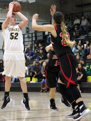 Kristyn Archuleta takes a shot from the top of the key. Alamogordo fell to Roswell 35-34 Tuesday night.