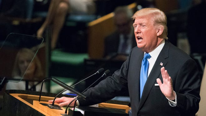 President Trump speaks during the 72nd session of the United Nations General Assembly at U.N. headquarters, Tuesday, Sept. 19, 2017.