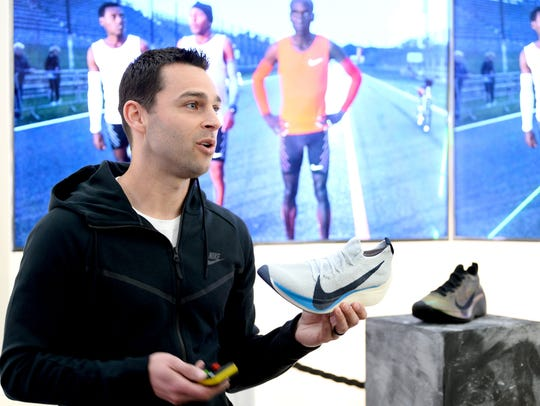 Bret Schoolmeester, Senior Product Director, speaks at the launch of the Nike Zoom Vaporfly Elite Flyprint at The Institute of Contemporary Arts in London on April 17, 2018.