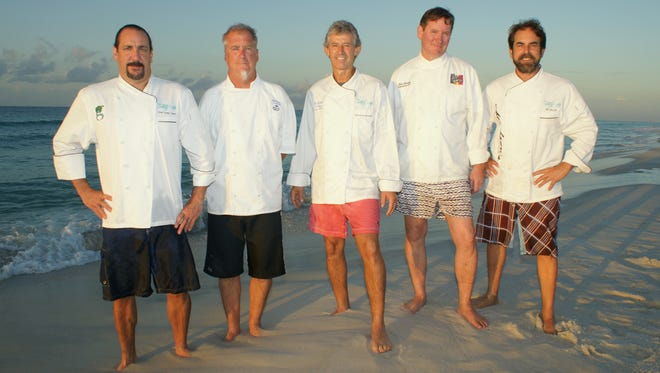 The Pensacola Celebrity Chefs — from left, Frank Taylor of Global Grill, Dann Dunn of H2O, Gus Silivos of Nancy's Haute Affairs, Jim Shirley of The Fish House and Irv Miller of Jackson's Steakhouse — will make their fourth tip to New York City to present Pensacola cuisine at the prestigious James Beard House on Oct. 1.