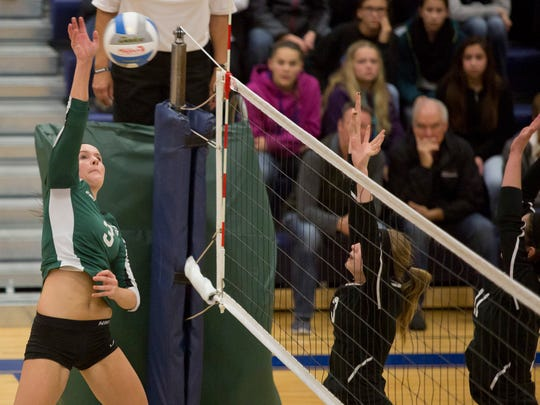 Brown City's Becki Krause goes for a spike during a postseason game last season.