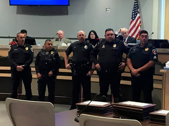 From left, Las Cruces police Chief Jaime Montoya; Officer Jose Prado, Sgt. Thaddeus Allen; Officer Joshua Herrera; and Sgt. Jaime Quezada