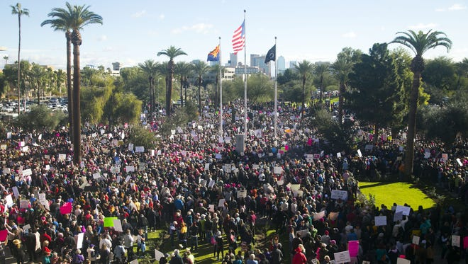 Thousands participate in the Women's March on Phoenix at the Arizona State Capitol on Jan. 21, 2017. The rally was timed for the day after President Donald Trump's inauguration and on the same day of a women's march taking place in Washington, D.C.