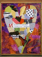 Kit Barksdale's mixed media hearts marry found objects with printed and textured scraps.