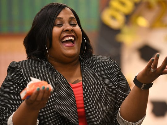 Devon Willis-Jones, the principal of Jeanerette Elementary, takes in the big news: She is the recipient of a 2016-17 Milken Educator Award and $25,000!