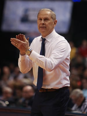 Michigan Wolverines head coach John Beilein on the bench during the second half of U-M's 92-91 win over Oklahoma State on Friday, March 17, 2017 at Bankers Life Fieldhouse in Indianapolis in the NCAA tournament.