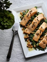 Slow Baked Salmon with Mustard Greens.
