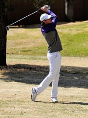 Wylie's Tyler O'Connor takes his second shot on No. 17 during the Wylie Invitational at the Abilene Country Club's Fairway Course on Wednesday, March 7, 2018.