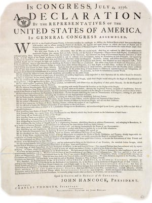 This undated image released by Britain's National Archives on July 2, 2009, shows a copy of the United States Declaration of Independence, which has been discovered at the National Archives in Kew, England. The rare copy of the American Declaration of Independence has been found hidden in a file at the British National Archives - the 26th copy of the document to be found.