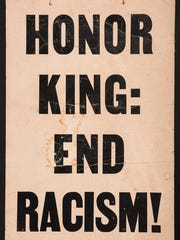 """A rare piece of Civil Rights Memorabilia, this """"sandwich board"""" style sign was carried in the April 8, 1968 march in Memphis in the wake of MLK's assassination."""