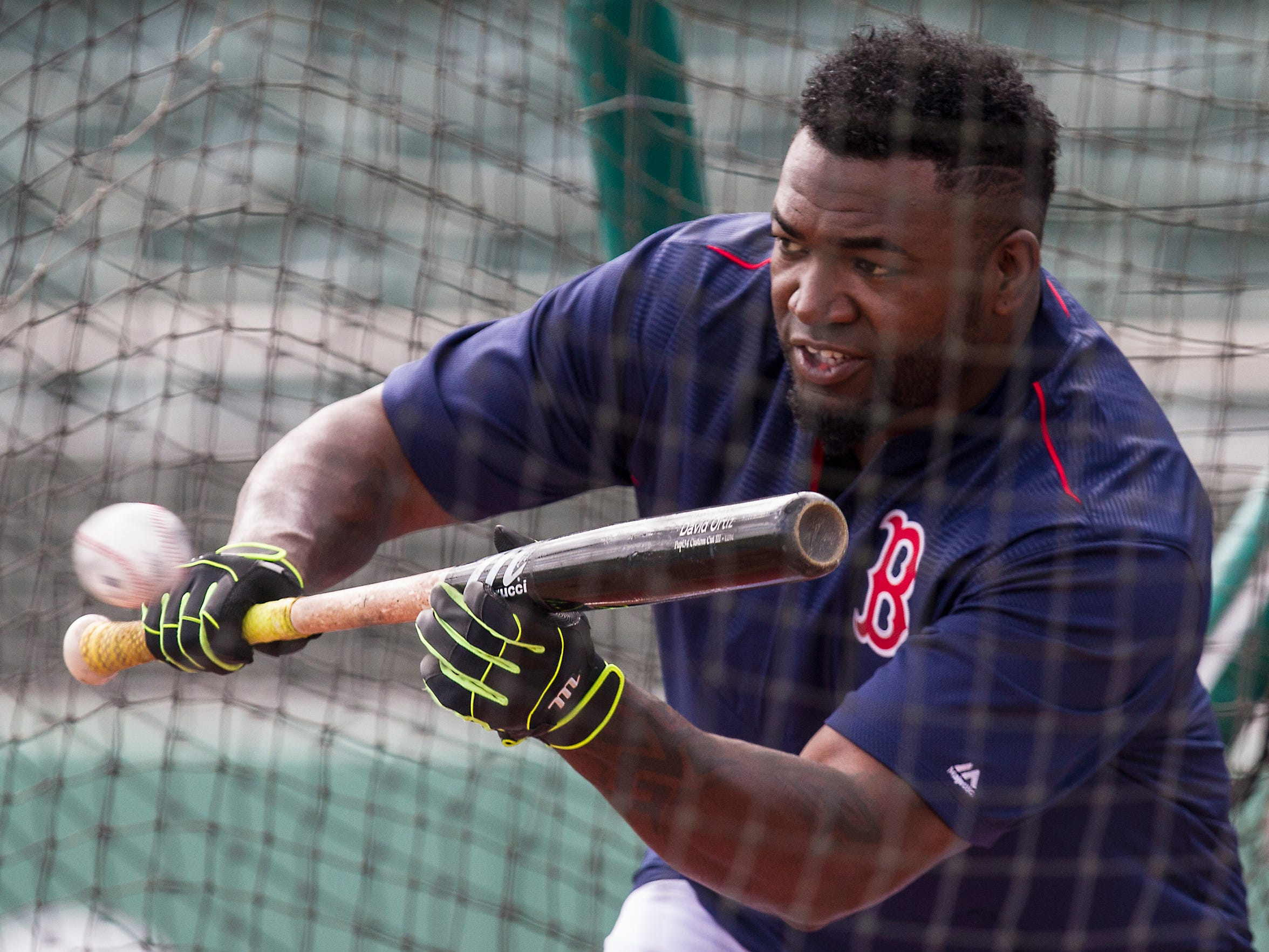 Boston Red Sox designated hitter David Ortiz bunts during batting practice Thursday morning (3/10/16)  prior to their game against the Minnesota Twins at jetBlue Park.