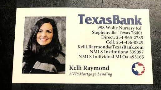 Kelli Raymond's business card.
