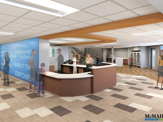 Design for the new Manitowoc-Two Rivers YMCA welcome desk.