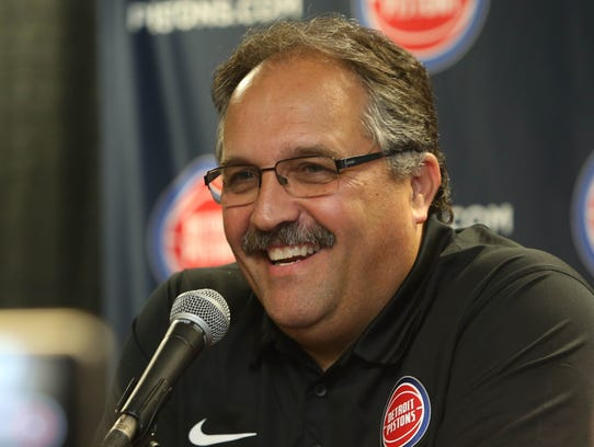Pistons head coach Stan Van Gundy talked with reporters