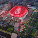 New Detroit arena concept shown from above. Detroit's new arena and entertainment district will be overseen by the Ilitch family's Olympia Development. It is for the northern edge of downtown Detroit.