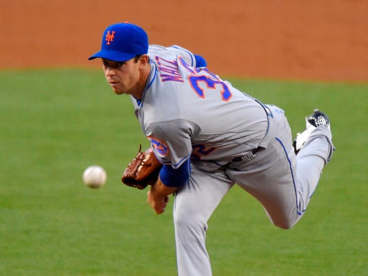 New York Mets starting pitcher Steven Matz throws to the plate during the first inning of a baseball game against the Los Angeles Dodgers, Monday, May 9, 2016, in Los Angeles. (AP Photo/Mark J. Terrill)