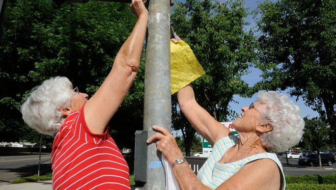Ellie Griffioen, 76, and Annie Van Beek, 81, both of Visalia, are known as the Trash Ladies because they pick up trash on their daily walks in southwest Visalia.