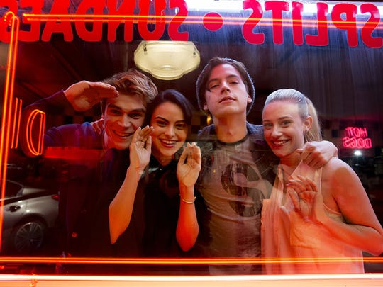 Starring in Riverdale are, from left, KJ Apa as Archie,