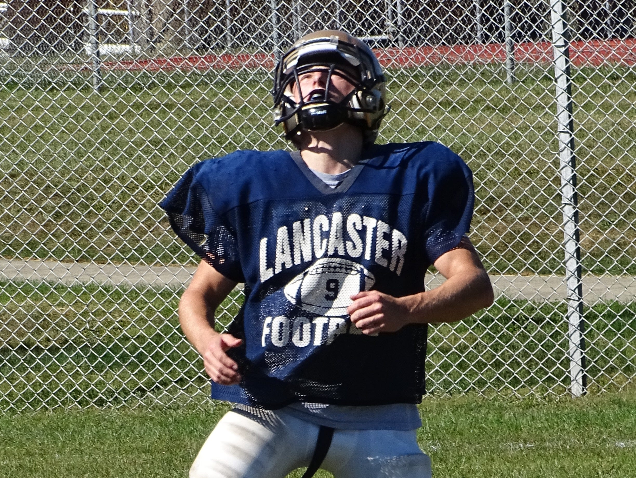 Lancaster's Ashton Walker prepares to catch a punt during Wednesday's practice. Walker has already returned a punt for a touchdown this season.