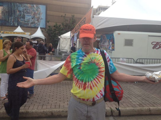 Pinky Lastrapes wears a vintage tie-dye T-shirt and