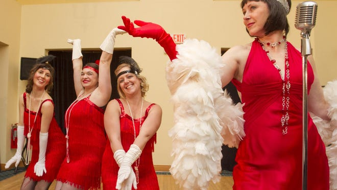 """In rehearsals for the Pinckney Players' performance of """"Café Murder and Cabaret"""" are cast members, from left, Josie Lapczynski, Sara Rzeppa and Lyn Summers as """"The Murderettes"""" and Kelly Hayner as """"Velma Kelly, the Diva."""""""