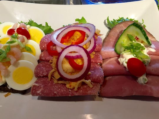 A trio of open-faced sandwiches from The Danish Cafe in Red Bank.