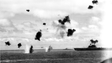 Anti-aircraft fire from the USS Yorktown during the