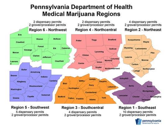 Medical marijuana grow and dispensary regions.