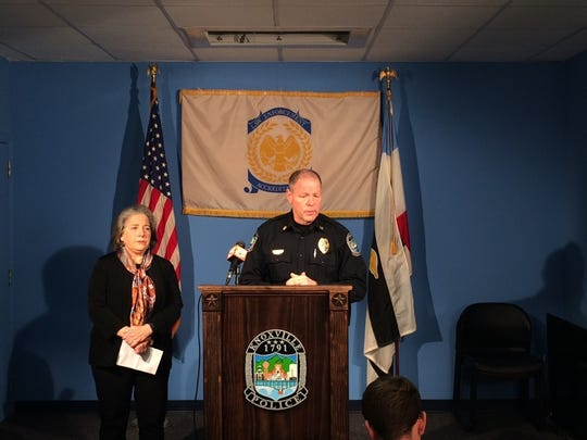 Knoxville Police Department Chief David Rausch holds a news conference Wednesday, Dec. 21, 2016, on the shooting death of a 12-year-old boy. Rausch said the boy's 13-year-old brother has been charged with first-degree murder. At left is Knoxville Mayor Madeline Rogero.